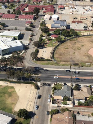 An aerial view from Ventura County Sheriff's Air Squad 8 shows Sunday's slow-speed pursuit that turned into a vehicular standoff in Port Hueneme.