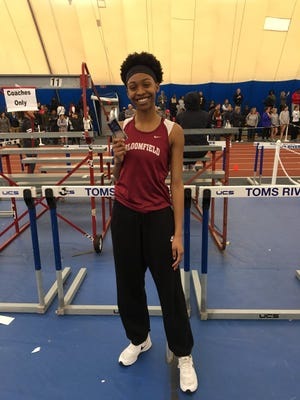 Bloomfield's Kaela Edwards earned a medal at the state Meet of Champions.
