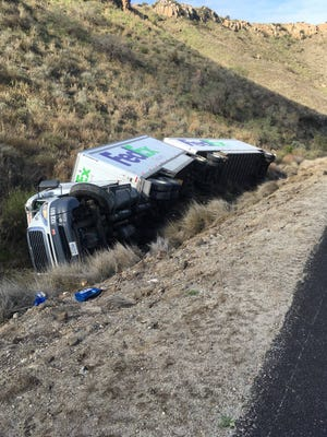 A truck went over the side of southbound Highway 101 in Camarillo Friday morning.