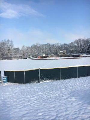 Wapahani's baseball field following Sunday's snowfall.