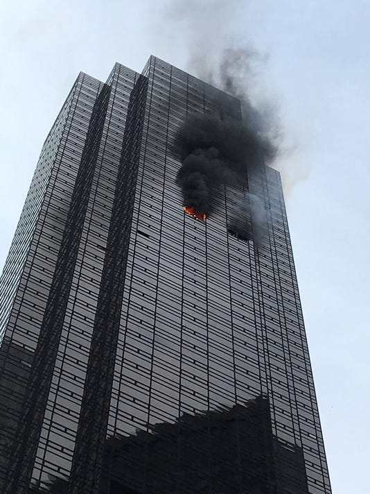 Fire crews battled a blaze at Trump Tower Saturday evening