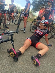 Chloe Dygert, of TWENTY20 p/n/ SHO-AIR, relaxes after winning Thursday's Inner Loop Road Race in the UCI Women's Division.
