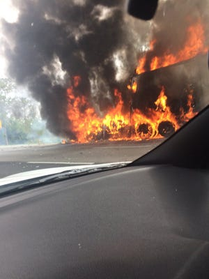 A tractor trailer fire briefly shut down I-95 northbound Saturday morning near Sebastian. Two lanes remained blocked at 11 a.m. Saturday.
