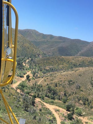 Here's a view from Ventura County Air Squad 8 of Sycamore Canyon, where firefighters assisted a patient who was not breathing Saturday.