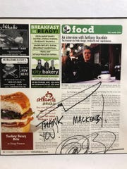 The author's article, signed by Anthony Bourdain.