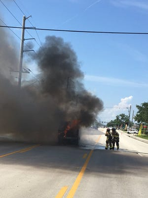 Heavily involved vehicle fire reported near Ellis and Wickham roads in West Melbourne. June 11, 2018.
