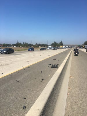 Remnants of a multi-vehicle collision that occurred Wednesday morning that injured three people along Highway 101 in Camarillo.