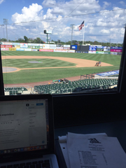 Dylan Manfre's view from the Somerset Patriots press