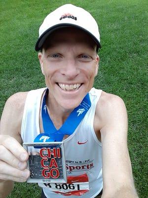 Lance Bergeson, after finishing the 2018 Chicago Marathon.