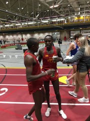 Iowa State junior Edwin Kurgat, after breaking the school record in the 5,000 meters Friday.