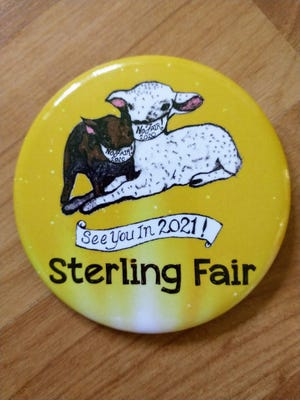 The 2020 Sterling Fair button as sketched by Heather Rockwell.