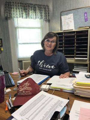 West Prairie Superintendent Carol Kilver sits in her office at the West Prairie school district office in Colchester. Kilver's last day as West Prairie superintendent is today. Guy Gradert will start his tenure as West Prairie superintendent on Wednesday.