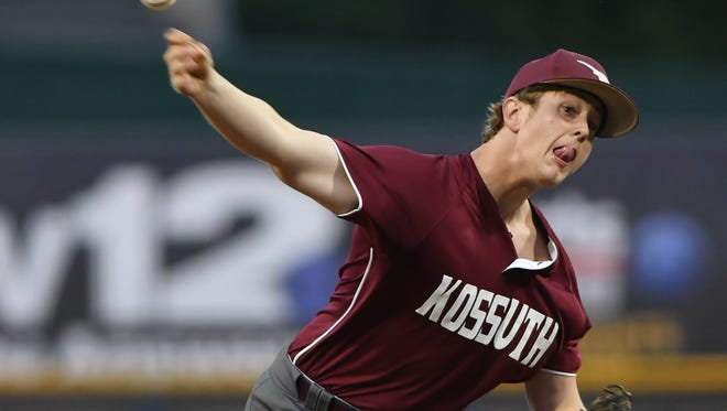Kossuth senior Hunter Swindle pitched a complete game in a 3-2 win over St. Andrew's in Game 1 of the Class 3A championship series.