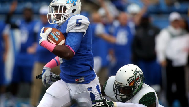 MTSU's Jeremiah Bryson will most likely see plenty of playing time during the first game. Bryson, a Smyrna native, is one of MTSU's three-headed monster at running back.