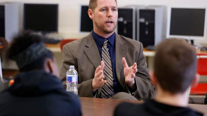 Des Moines Public Schools Superintendent Thomas Ahart speaks to East High School students during a visit <137>to the school <137>Wednesday. Ahart hopes to increase the achievement of all students in the district, particularly those from impoverished backgrounds.