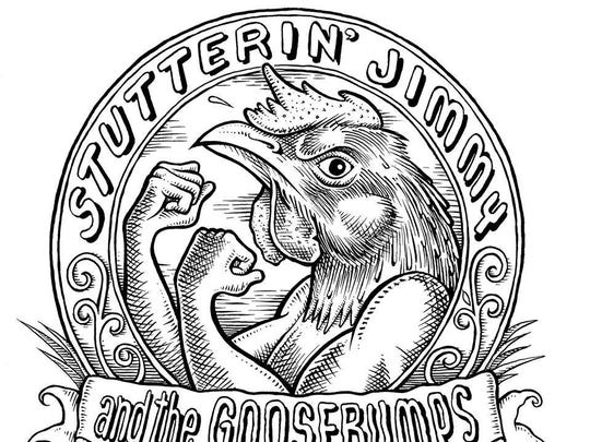 The logo for Stutterin Jimmy and the Goosebumps.