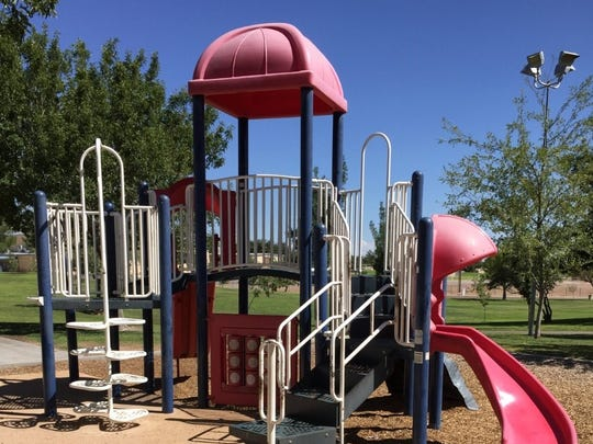 "Young Park includes three areas with playground equipment. One of two areas in the southeast part of the park may be getting an additional set of ""inclusive"" equipment."