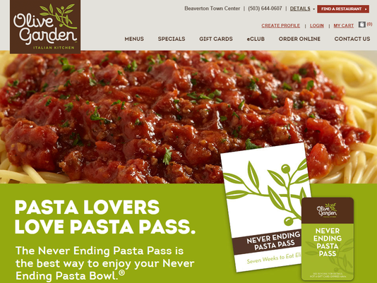 unsuccessful 100 olive garden pass purchase - Olive Garden Beaverton