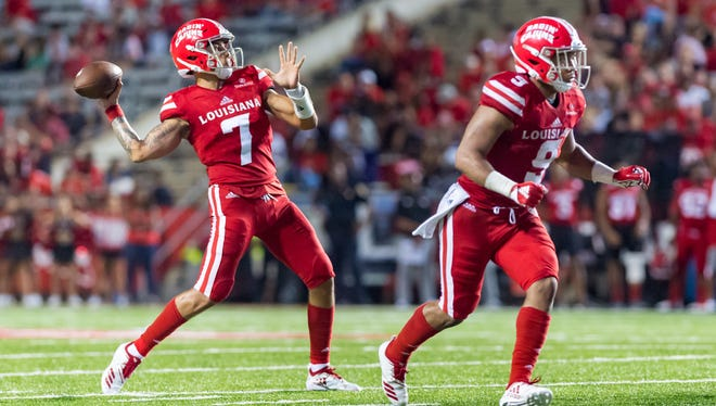 Andre Nunez (7), Trey Ragas (9) and the Ragin' Cajuns look to put their loss to Coastal Carolina behind as they prepare to face No. 1 Alabama.