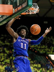 Kansas' Josh Jackson dunks against Baylor on Feb. 18,
