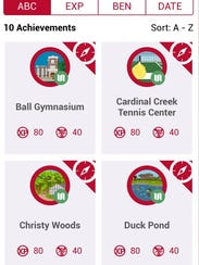 Screen shot of the Ball State University Achievements