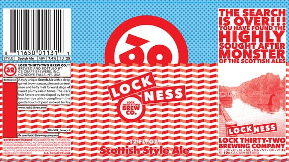 This is the label for Lock 32's Lock-Ness Scotch Ale.