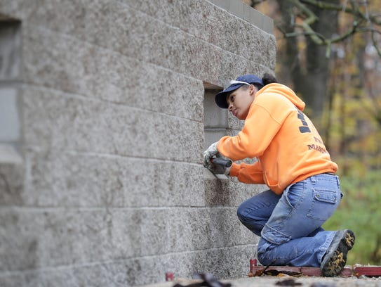 Jye Jude, a masonry student at Northeast Wisconsin