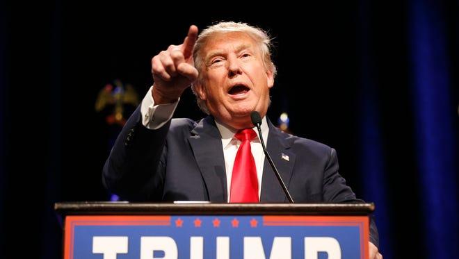 Republican presidential candidate Donald Trump speaks in Las Vegas. (John Locher, AP)
