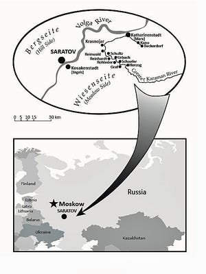 Map of German Russian settlements along the Volga River in Russia