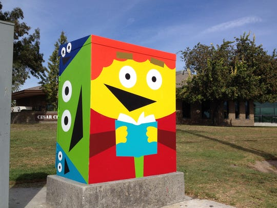 A finished Salinas Urban Art Project utility box mural by Drew McSherry next to the Cesar Chavez Library in east Salinas.