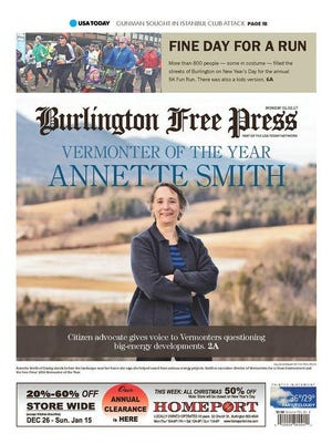 The front page of the Jan. 2, 2017, Burlington Free Press announcing the Vermonter of the Year for 2016.