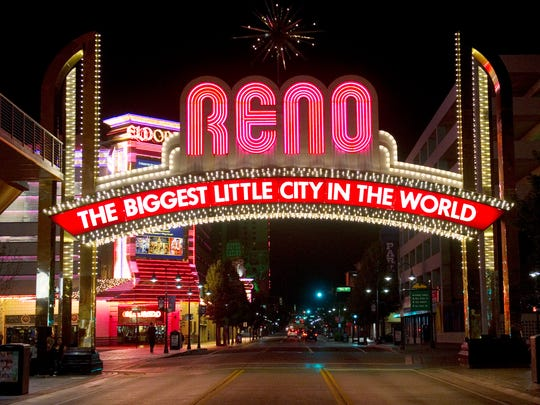 The Reno Arch on Virginia Street is the iconic symbol of the Arch District in downtown Reno.