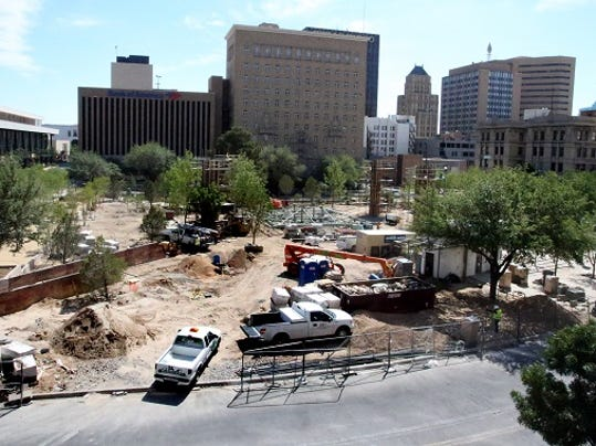 Work continues on the San Jacinto Plaza renovation project in downtown El Paso.