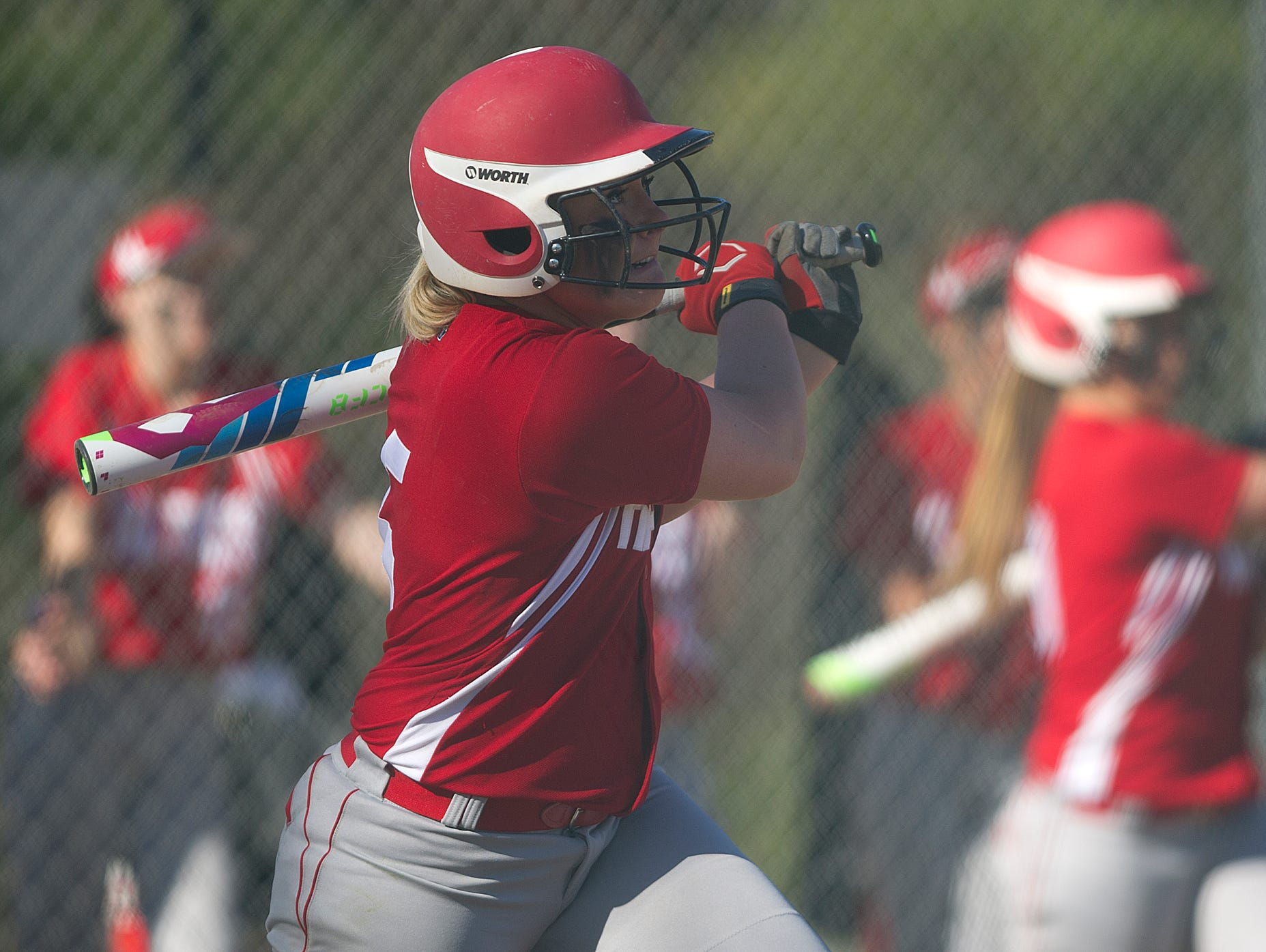 Wisconsin Rapids' Madison Bogie watches as the ball goes over the fence for a home run Thursday during a Wisconsin Valley Conference softball game at Lincoln High School in Wisconsin Rapids.