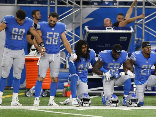 anthem protest, Lions Falcons, anthony zettel, paul worrilow, jalen reeves-maybin, tahir whitehead, ameer abdullah
