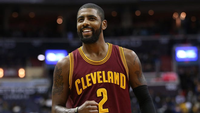 Nov 11, 2016; Washington, DC, USA; Cleveland Cavaliers guard Kyrie Irving (2) gestures on the court against the Washington Wizards in the third quarter at Verizon Center. The Cavaliers won 105-94.
