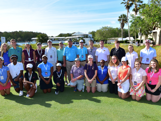 PGA Tour Champions pro Kenny Perry, center, poses with members of the Golf to Paradise-The First Tee Champions Challenge after a putting clinic at TwinEagles last week. The clinic will be shown on the Golf Channel on Wednesday, Feb. 22, 2017 at 7:30 p.m.