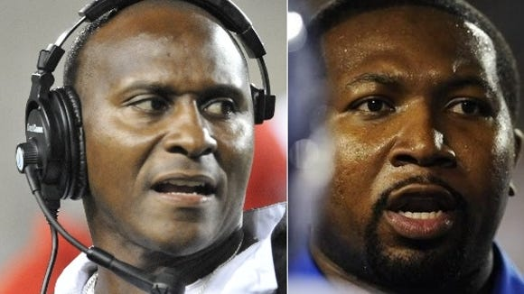 Former Alabama State coach Reggie Barlow (with headset) was introduced Tuesday as Sidney Lanier's head football coach as he replaced C.J. Harris.