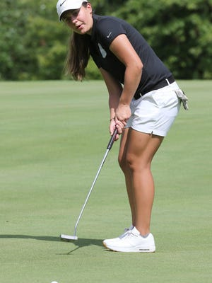 Perry's Sophia Rosa putts on the first green during their match against Lake and Massillon at The Legends on Monday, August 5, 2020.