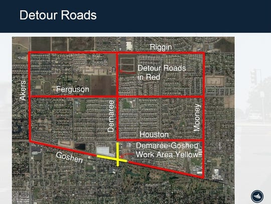 A graphic shows possible detour routes to avoid the