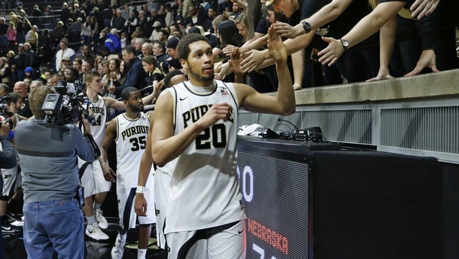 A.J. Hammons and the rest of the Boilermakers shake hands with members of the Paint Crew after defeating Nebraska 89-74 Saturday, January 30, 2016, at Mackey Arena.