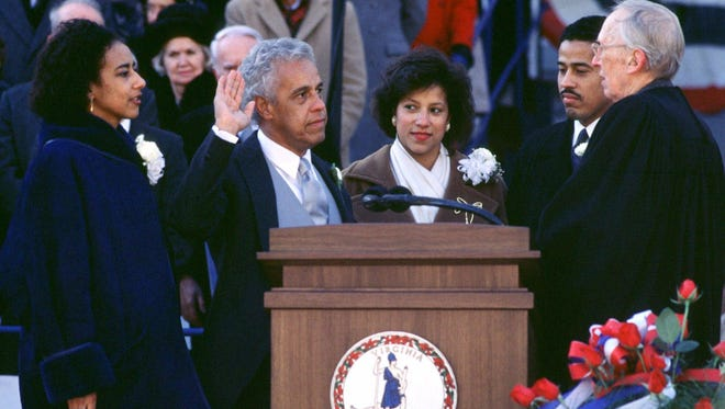 L. Douglas Wilder is sworn in as the 66th governor of Virginia on Jan. 13, 1990