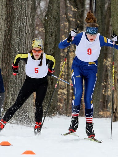 Grace Mattern, in blue, won this year's Section V Nordic