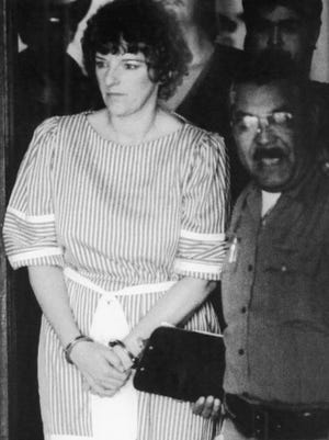 Convicted baby killer Genene Jones, shown here after a pre-trial hearing Oct. 1, 1984, is thought to have murdered 11 to 46 infants in her care between 1980 and 1982.