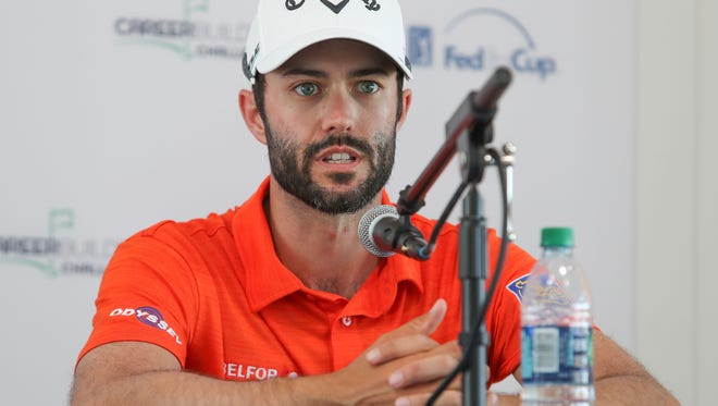 Adam Hadwin talks with the press at PGA West in La Quinta, January 17, 2018