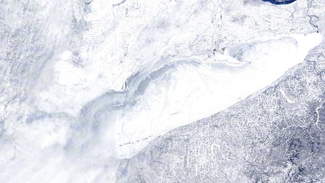 Lake Erie on Feb. 17. The lake is 98% covered in ice, according to Great Lakes Coastwatch.