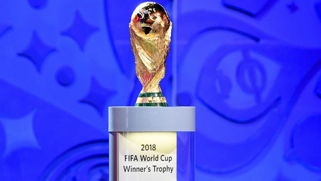 The FIFA World Cup trophy on display in Russia.