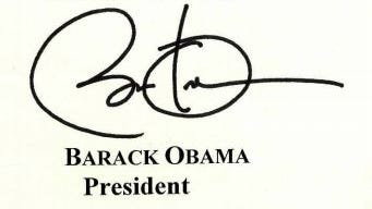 The mechanical signature of President Obama's appears on a pardon warrant issued Dec. 19. 2016. The president was in Honolulu when the White House issued the clemency paperwork.