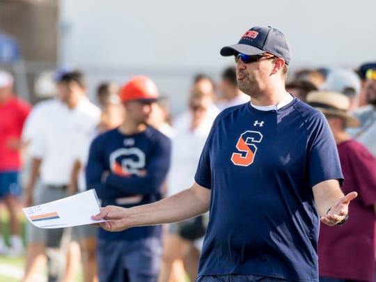 College of the Sequoias head football coach Joseph D'Agostino against Reedley College in a scrimmage on Tuesday, August 21, 2018.