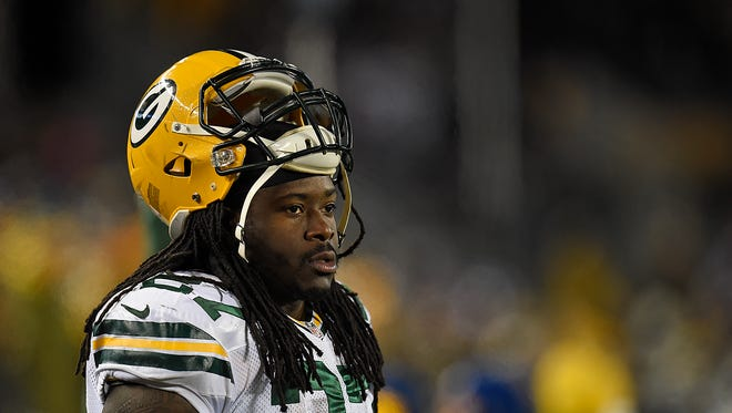 Green Bay Packers running back Eddie Lacy looks on during Nov. 22's game against the Minnesota Vikings at TCF Bank Stadium in Minneapolis, Minn.